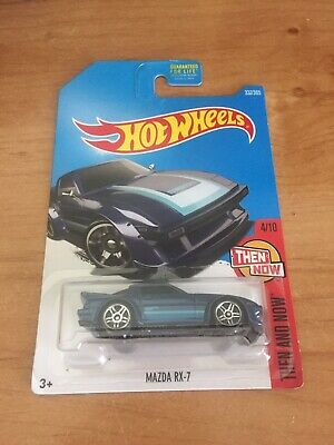 2017 Hot Wheels Then and Now #4/10 Mazda RX-7 Blue #337 SA22 FB PR5 Wheels