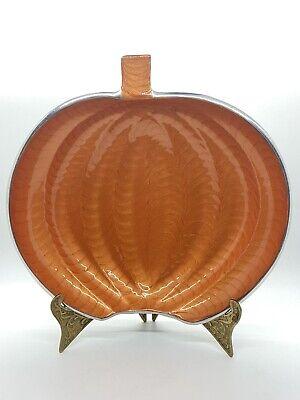 "Mikasa Halloween Thanksgiving 10"" Iridescent PUMPKIN Ceramic Candy Bowl Dish"