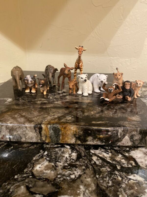 Schleich Baby Animal Lot Elephant, lion, cheetah, moose, monkey, dog, pig, bear