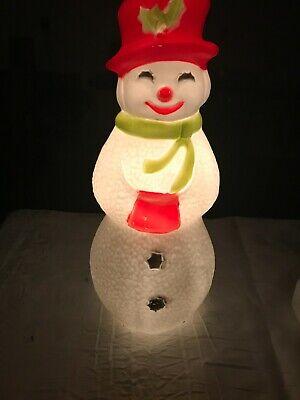 Vtg Union Snowman Blowmold 22 inch Lights Up Indoor Outdoor Christmas Decor