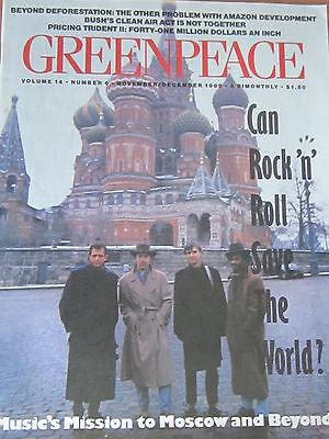 GREENPEACE 1989 Newsletter Magazine BONO peter gabriel The Edge david byrne U2