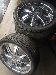 "^** 20"" CHROME RIMS WITH TIRES 245/35/20"