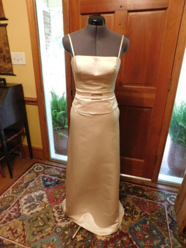GORGEOUS SATIN IVORY 2-PIECE FORMAL GOWN FOR WEDDING-BMAID-SPECIAL OCCASION SZ4