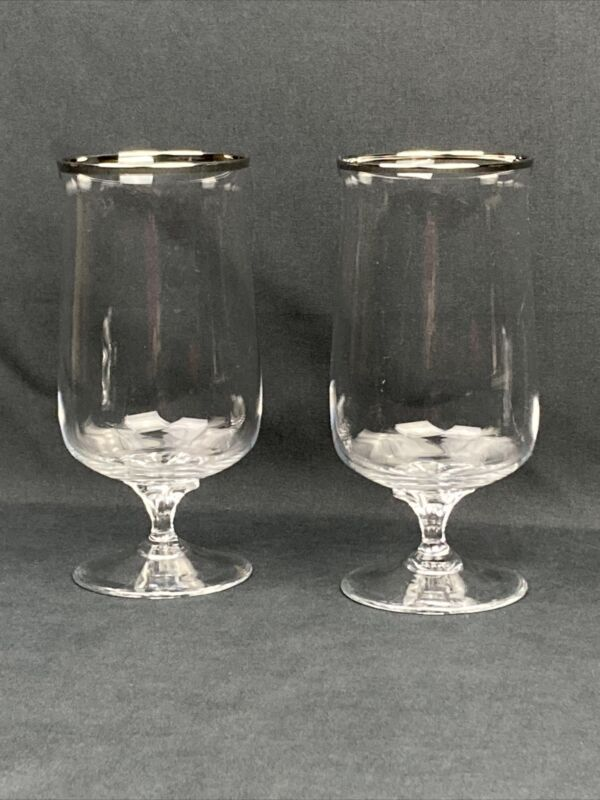 "Lenox DESIRE Platinum Trim Crystal 6 3/8"" Footed ICED TEA Tumbler Vtg Set Of 2"