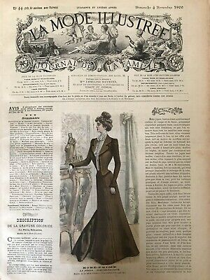 French MODE ILLUSTREE SEWING PATTERN Oct 7,1900 ROBE AVEC JUPE NOUVELLE