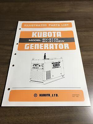Genuine Kubota Gv3170. Gv3170sw Generator Parts Book Catalog Manual