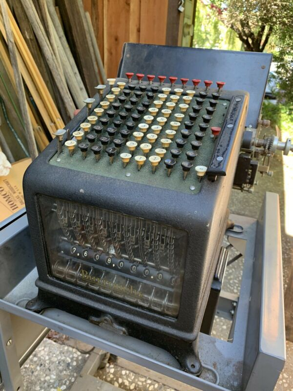 Rare Burroughs electric adding machine w beveled front glass