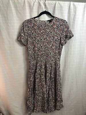H&M Pink & White Floral Dress Size 12 90's Vibes