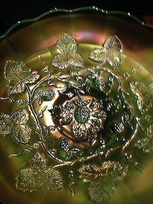Millersburg Glass Company Blackberry Wreath Green Carnival Glass Bowl