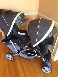 Double stroller, folds up compact, good for travel