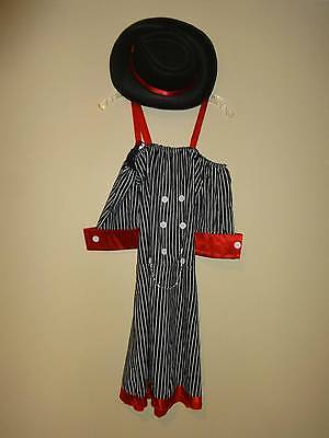 Mobster Mistress Girl Women's Costume Mob Halloween Striped Mafia Dress SZ L Hat - Mob Girl Costume