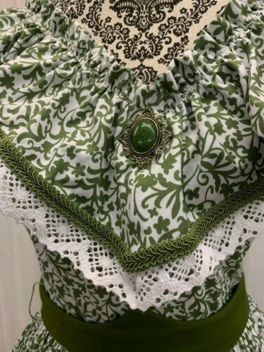 """Victorian Party Gown, Leaf Green on White Background """"Scarlet Picnic Dress"""""""