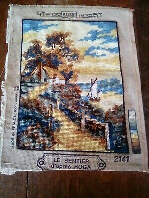 Vintage Tapestry Panel embroidered Picture 21 x 28cm approx cottage boat