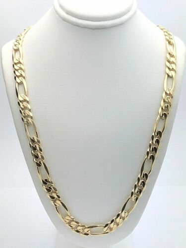 """Men's 14k Yellow Gold Solid Figaro Necklace Link Chain 22"""" 7"""