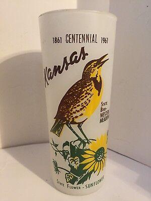 Vintage 1861-1961 Frosted Glass Centennial Tumbler Kansas State Bird and Flower