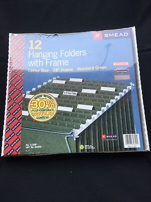 Smead Hanging File Folders With Metal Frame Letter Size 12 Green Color Folders