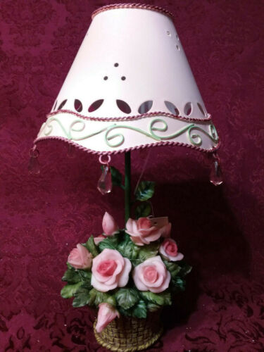 Home Interiors Pink Mauve Rose Basket Candle Shade Lamp/NIB/ Gift Victorian