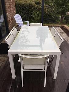 Freedom White Glass top outdoor dining table + 6 chairs Burradoo Bowral Area Preview