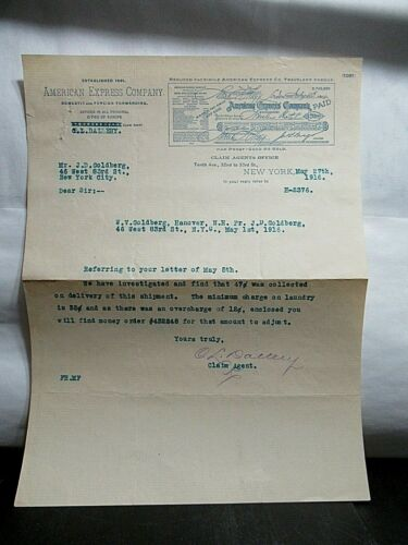 1916 Antique AMERICAN EXPRESS Co. Signed Letter by C.L. Dallery, WWI War Proof