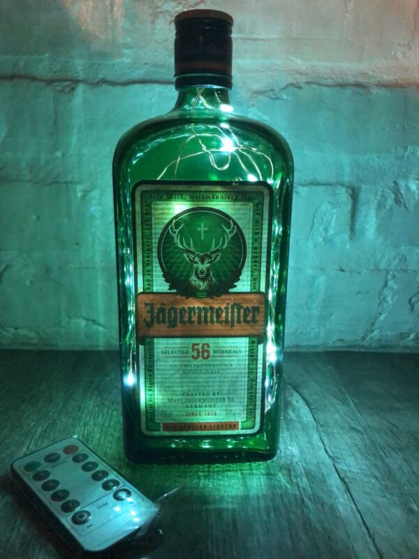 Jagermiester Whiskey Bottle Lamp W/Remote