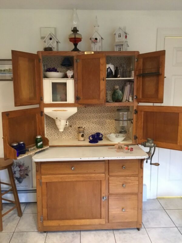 Antique Oak Hoosier Cabinet, light wood color, 1900 - 1950,