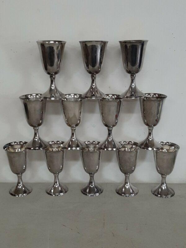 12 Vintage Silver Plate Wine/Water Goblets - Japan