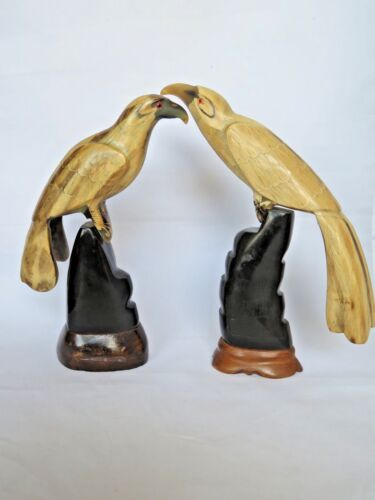 """Hand Carved Horn Bird Pair on Wood Base Male & Female 9"""" High Highly Detailed"""