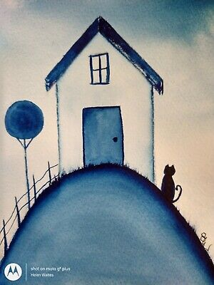 Original watercolour painting.  Little cats house on the hill.