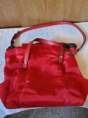 Used Zara Basic Collections Tote Bag. Color is Red, Top Handles/Cross Body Strap