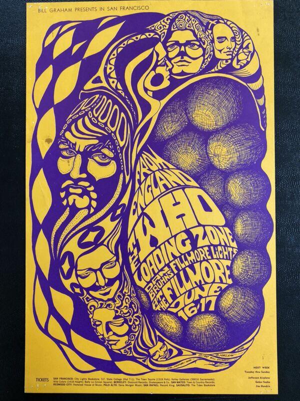 Pretty Amazing Vintage The Who Jimi Hendrix 1967 San Francisco Bg Concert Poster