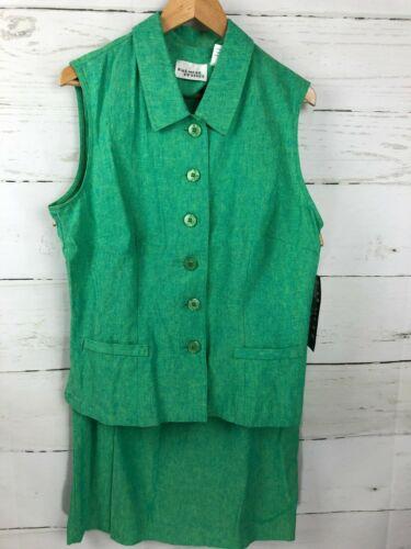 NWT VTG Halmode Petites Green Linen Blend 2 Piece Size 12 Top 8 Skirt Set NEW Q2
