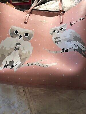 Kate Spade NY Blaze A Trail Len 'Who Me?' Owl Large Pink Leather Tote