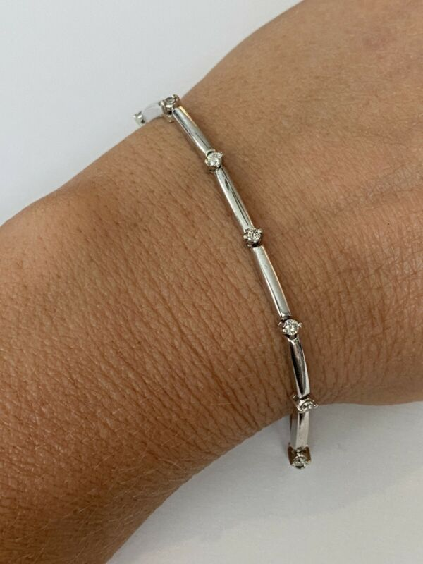 "Solid 14k White Gold 1/2 TCW Diamond Tennis Bracelet Size 6.75"", 0521"