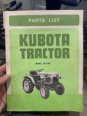 Vintage Kubota Tractor B7100 Parts List