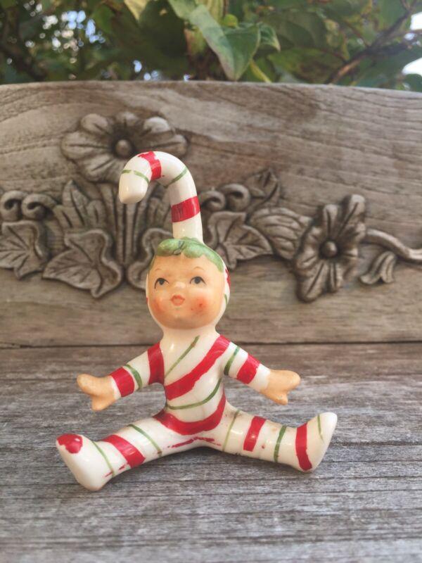 Vintage Lefton Candy Cane Elf Pixie Ceramic Figurine