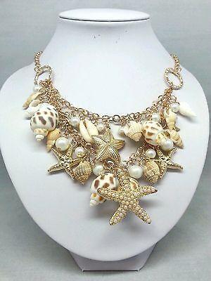 Starfish Sea Shell Necklace Faux Pearl Gold Chunky Statement Bib Seashell Beach ()