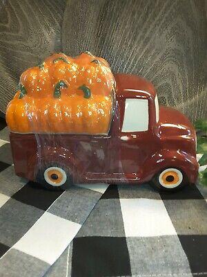"""NEW Red Farm Truck w/Pumpkins Cookie Jar Fall Cermic Farm Truck 9"""" x 6"""""""
