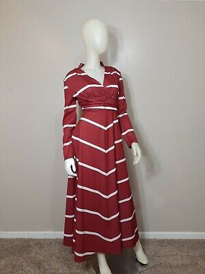 LADIES Red/White Long Sleeve Maxi Dress-Size L