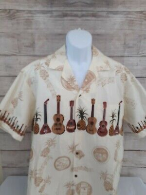 Winnie Fashion Mens Size XL  Hawaiian Shirt Ukulele Guitar Pineapple Unique  for sale  Shipping to Canada