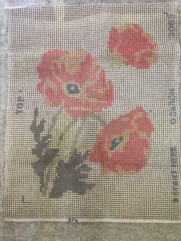 "Vintage Caron latch hook rug canvas 21""x27"" Orange Poppies - Canvas Only"