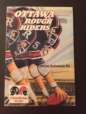 Ottawa Rough Riders 1980 CFL pocket schedule - O'Keefe Ale
