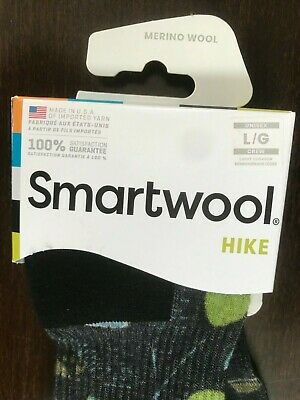 SmartWool Hike Hiking Crew Merino Wool Socks Hut Print - Light Cushion sz LARGE