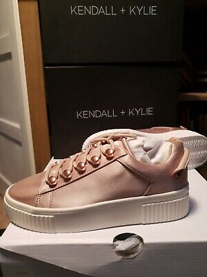 Kendall And Kylie Rose Gold Satin Size 3 Trainers