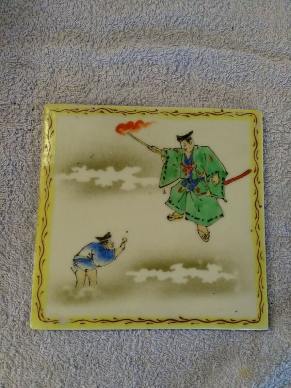Antique Chinese Hand Painted Ceramic Tile