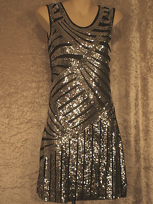 yle Flapper  Party Dress Art Deco Sequins Night Club Wear M (Great Gatsby Deco)