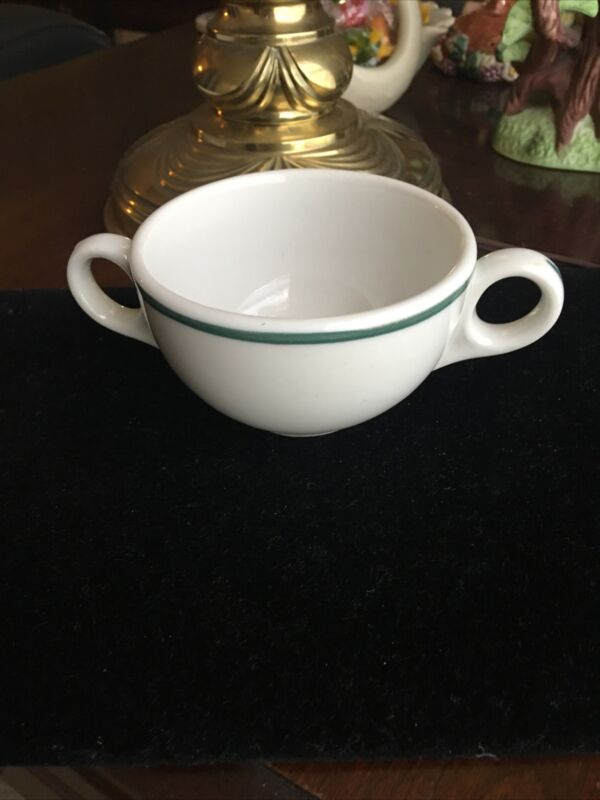 6  China CREAM SOUP BOWLS Restaurant Ware Green Striped Double Handles 6 Oz