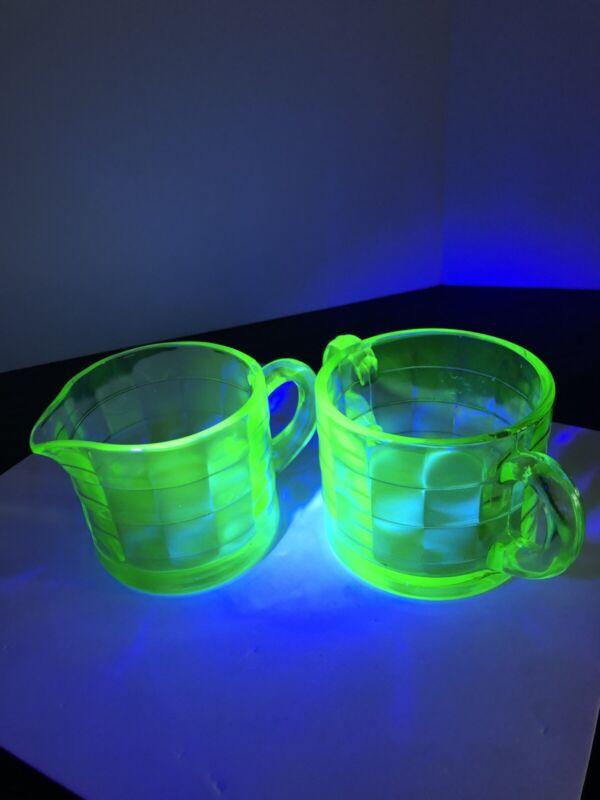 Anchor Hocking Block Optic Green Uranium Glass Creamer & Sugar Bowl