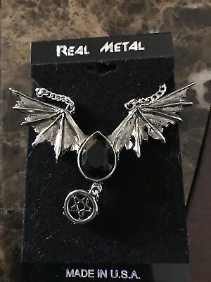 SPIRIT HALLOWEEN - REAL METAL - BLACK BAT WING NECKLACE - NEW WITH TAGS