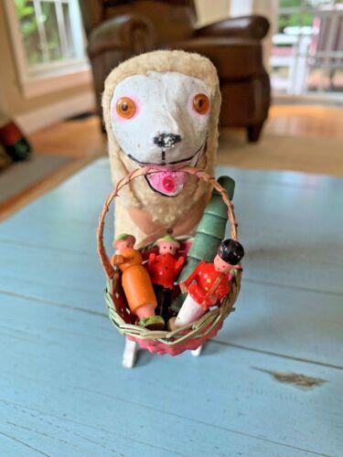 Rare Early Putz Dog Poodle Antique Germany  Stick Leg Glass Eyes Erzgebirge Toy