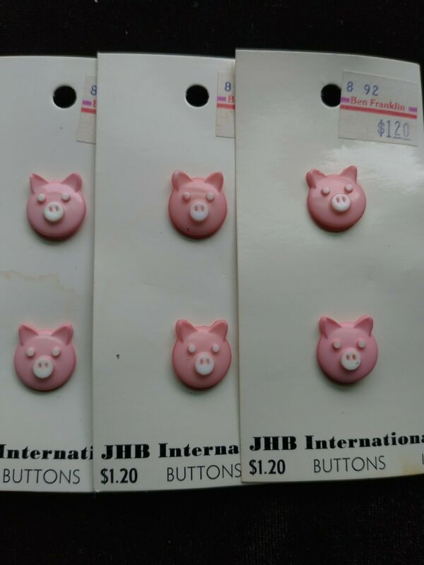 Vintage Sewing Craft Pig  Buttons ~ Made in England ~ Animal Shape